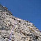 für einen Klettergarten ziemlich eindrückliche Wand